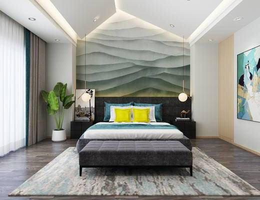 现代卧室, 主卧, 卧室, 现代, 床, 装饰画, 挂画, 吊灯, 盆栽, 床头柜