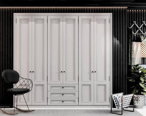 现代衣柜, 现代椅子, 置物架, 挂件