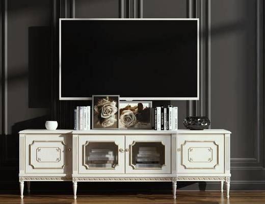 美式电视柜, 边柜组合, 装饰柜架