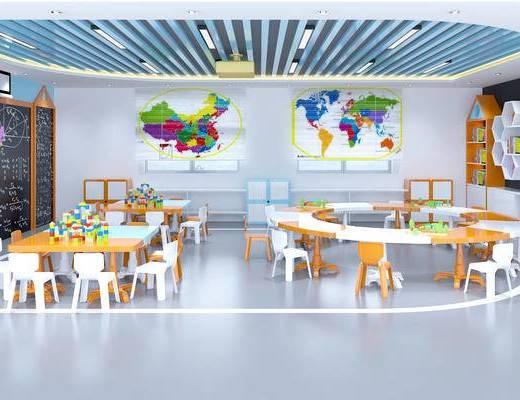 幼儿园教室, 幼儿园活动室, 幼儿园多功能室, 儿童桌椅, 儿童读物, 儿童书柜, 黑板