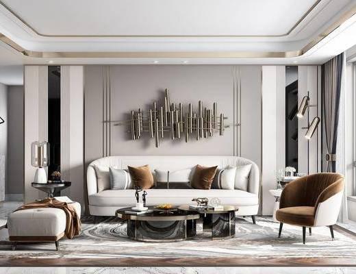 现代客厅, 客厅, 现代沙发茶几组合, 现代沙发