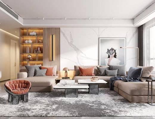 沙发组合, 茶几, 单椅, 装饰柜