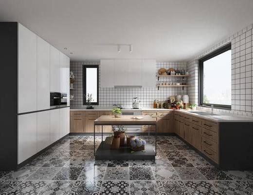 厨房, 橱柜, 厨具, 洗手台, 置物架, 厨具组合, 蔬菜, 北欧