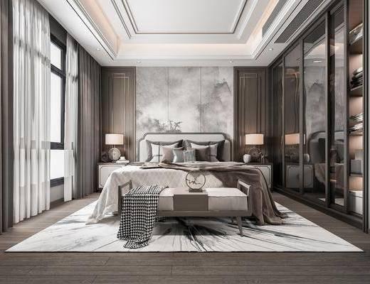 新中式, 卧室, 双人床, 边柜, 台灯, 衣柜, 床尾凳