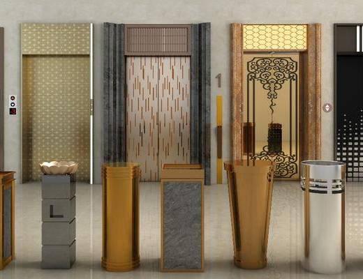 电梯门, 垃圾桶, 现代