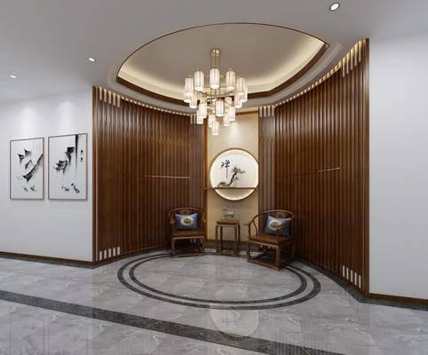 玄关走廊, 单人沙发, 边几, 装饰画, 挂画, 圆框画, 吊灯, 新中式