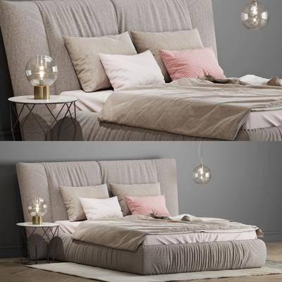 双人床, 床具组合, 床头柜, 台灯, 吊灯, 床, 现代, 后现代