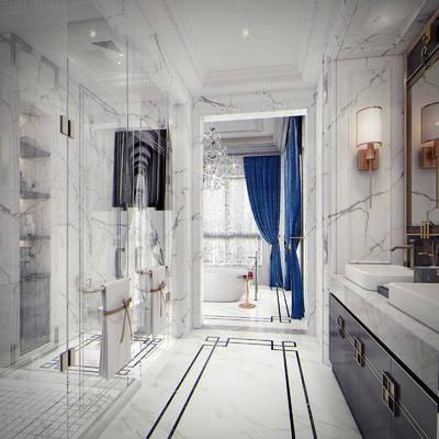 卫生间, 洗手台, 壁灯, 浴缸, 吊灯, 水晶吊灯, 装饰架, 装饰品, 陈设品, 摆件, 法式