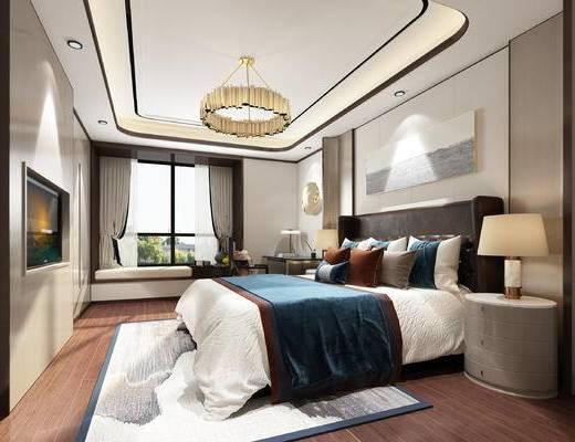 新中式卧室, 卧室, 床, 床头柜, 台灯, 吊灯