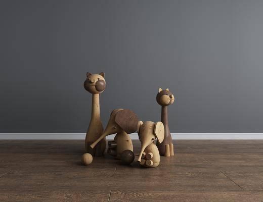 木头, 木质, 玩具, 猫, 玩偶, 组合