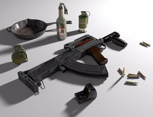 Groza, 全息瞄准镜, 子弹, 平底锅, 武器