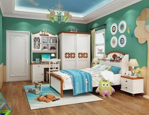 单人床, 墙饰, 吊灯, 床头柜, 桌椅组合, 玩具, 衣柜, 地毯