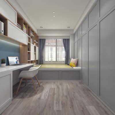 卧室, 榻榻米, 书桌, 单人椅, 摆件, 装饰柜, 北欧