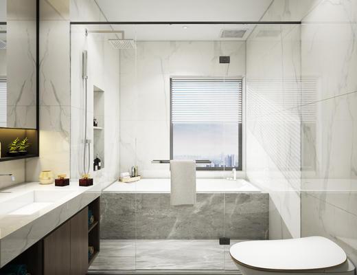 卫生间, 淋浴间, 浴缸, 洗手台, 镜子, 便器