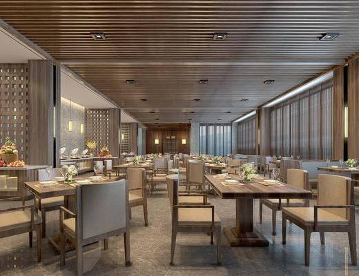餐厅, 现代, 现代餐厅, 桌椅组合, 隔断