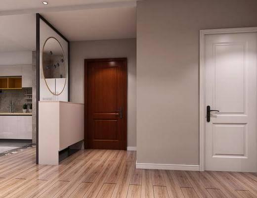 玄关走廊, 门厅, 橱柜, 厨具, 洗手台, 北欧