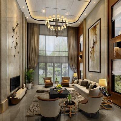 多人沙发, 单人沙发, 茶几, 电视柜, 摆件, 装饰画, 台灯, 吊灯, 现代
