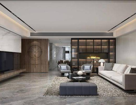 现代, 客厅, 多人沙发, 沙发凳, 茶几, 单人沙发, 边几, 台灯, 落地灯, 吊灯, 餐桌椅, 茶室