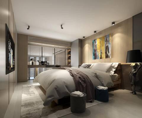 现代, 卧室, 双人床, 造型落地灯, 垃圾桶