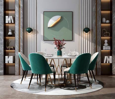 餐桌椅組合, 圓桌椅組合, 裝飾柜組合, 擺件組合, 餐具組合, 現代