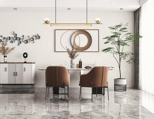 现代轻奢, 餐厅, 餐桌, 餐椅, 吊灯, 边柜, 盆栽