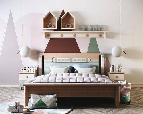 单人床, 吊灯, 墙饰
