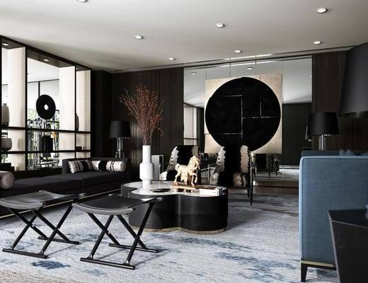 客厅, 多人沙发, 茶几, 凳子, 边几, 台灯, 摆件, 装饰画, 陈设品, 装饰品, 现代