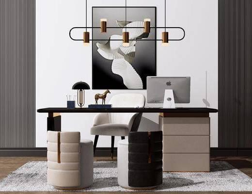 电脑桌椅, 艺术吊灯, 装饰挂画, 摆件组合