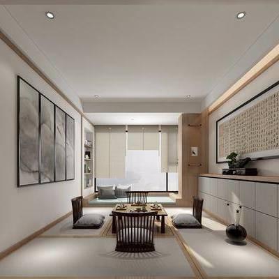 茶室, 茶桌, 榻榻米, 单人椅, 装饰柜, 边柜, 装饰画, 挂画, 摆件, 装饰品, 陈设品, 新中式