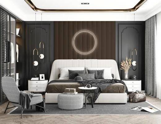 双人床, 床具组合, 墙饰, 吊灯, 床头柜, 单椅