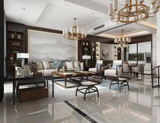 客厅, 餐厅, 新中式客餐厅, 沙发组合, 单椅, 茶几, 吊灯, 桌椅组合