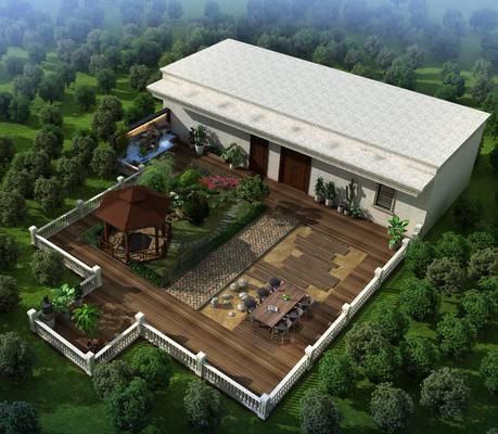 露天大阳台, 水景, 盆景, 花园栏杆