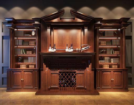 酒柜, 书柜, 置物柜, 美式, 实木, 洋酒, 红酒, 书籍, 摆件