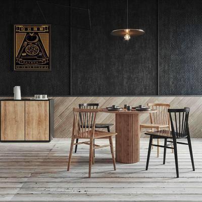 餐廳, 桌椅組合, 餐桌, 邊柜, 擺件組合, 裝飾畫, 吊燈