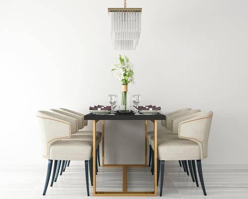 餐桌椅, 餐厅, 餐桌, 椅子, 绿植, 吊灯