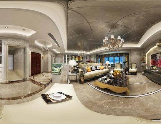 客厅, 餐厅, 沙发组合, 沙发茶几组合, 餐桌椅组合, 简欧客餐厅