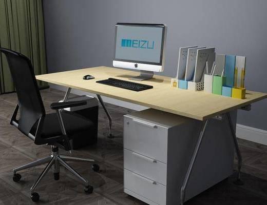 现代电脑桌, 电脑桌, 办公桌, 桌椅组合