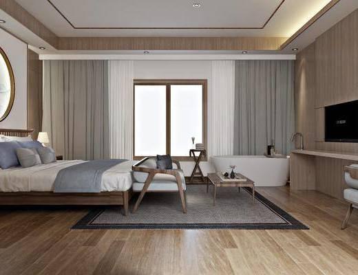 民宿套房, 雙人床, 床尾凳, 桌子, 單人椅, 麻將桌, 邊柜, 盆栽, 綠植植物, 浴缸, 裝飾畫, 掛畫, 床頭柜, 臺燈, 新中式