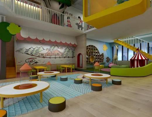 幼儿园教室, 幼儿园活动室, 幼儿园图书室, 多功能室, 活动室, 儿童桌椅, 装饰品摆件