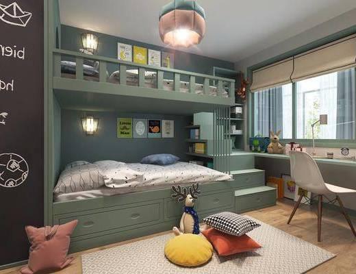 儿童房, 北欧儿童房, 床具组合, 单椅, 书柜, 黑板墙, 吊灯, 抱枕, 布偶, 北欧