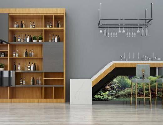 酒柜, 吧台, 摆件, 装饰品, 陈设品, 单椅, 吧椅, 吊灯, 鱼缸酒架, 椅子, 现代