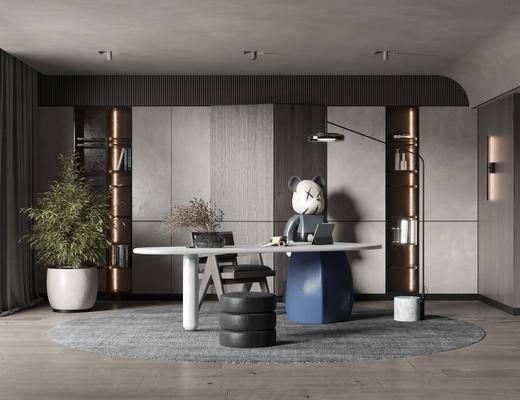 书桌, 桌椅组合, 落地灯, 壁灯, 盆栽植物
