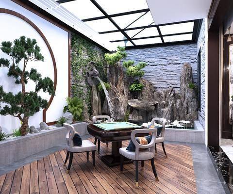 新中式, 花园, 庭院, 麻将房