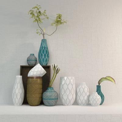 陶瓷器皿, 摆件组合, 摆件, 瓷器, 简约, 现代简约, 现代