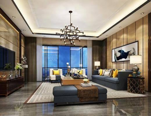 后现代客厅, 后现代, 客厅现代吊灯, 布艺沙发, 电视柜, 花瓶, 屏风