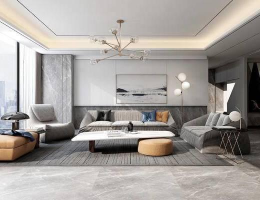 茶几, 抱枕, 沙发组合, 吊灯, 单椅, 装饰画