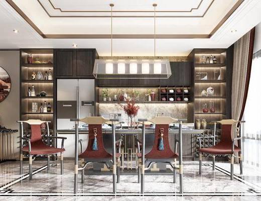 餐桌, 餐椅, 吊灯, 挂画, 边几, 酒柜, 餐具, 装饰品