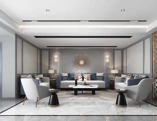 沙发组合, 墙饰, 茶几, 单椅, 餐桌, 酒柜, 橱柜组合, 吊灯