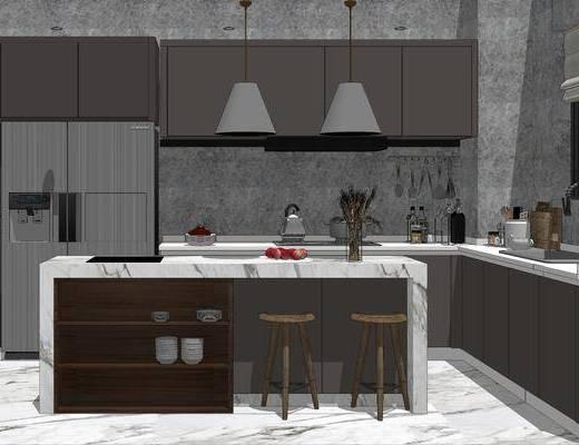 橱柜组合, 厨房, 吊灯, 吧台, 吧椅