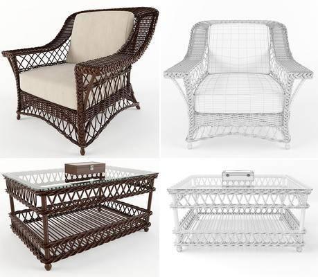 藤编椅, 茶几, 现代